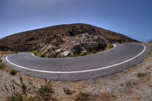 Hairpin bend on a mountainside